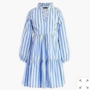 Tiered popover dress in striped cotton poplin